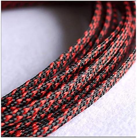 Zsheng 10m1lot 3mm 4mm 6mm 8mm 10mm 12mm 16mm Platte PET Mouwen Gevlochten Uitbreidbaar Kabel Draad Snakeskin Mouwen Zwart Rood Blauw Groen ColorBlack w red Length3MM