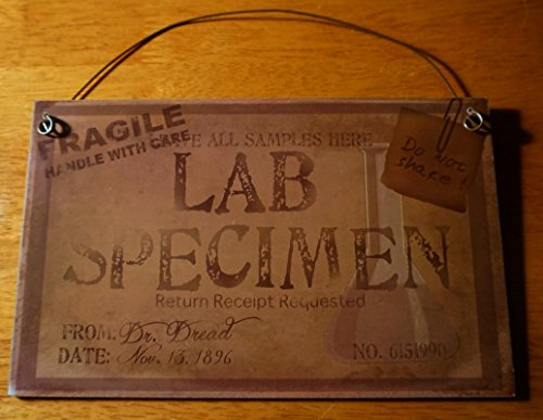 Lab Specimen Jar Sign Rustic Mad Scientist Laboratory Prop Halloween Home Decor -