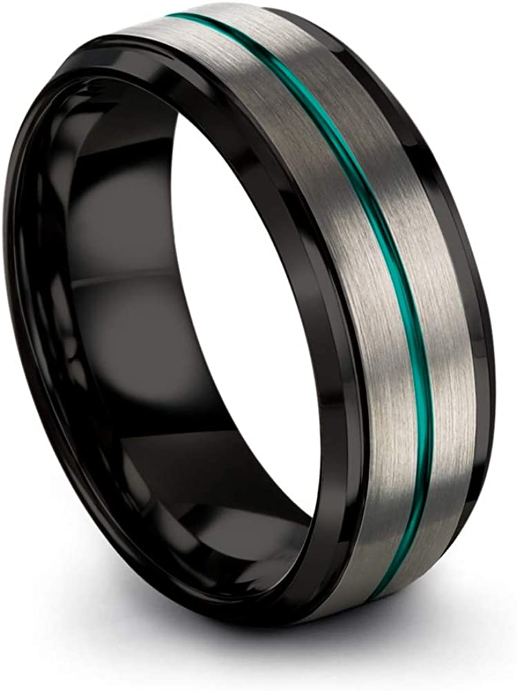 Chroma Color Collection Tungsten Carbide Wedding Band Ring 8mm for Men Women Green Red Blue Purple Black Fuchsia Teal Copper Grey Center Line Step Beveled Edge Brushed Polished