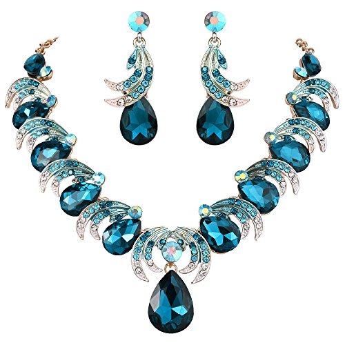 Jewelry Set Gold Rhinestone Tone - BriLove Women's Wedding Bridal Crystal Leaf Vine Teardrop Statement Necklace Dangle Earrings Set Turquoise Color Gold-Tone