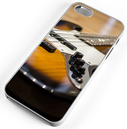 iPhone Case Fits iPhone 8 Electric Bass Guitar Music Concert Band White Rubber by TYD Designs
