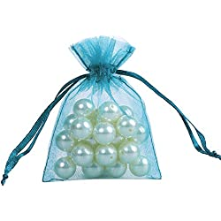 Ling's moment 3x4 Inch Sheer Organza Gift Candy Bags (50, Teal Blue)