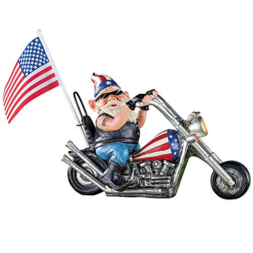 Collections Etc Patriotic Motion-Activated Biker Gnome Figurine with American Flag Tattoo and Revving Engine - Festive Fourth of July or Memorial Day Decorative Accent from Collections Etc