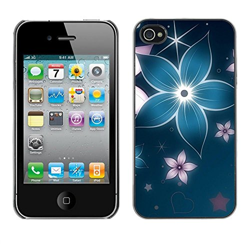 Stuss Case / Coque Étui Housse de protection - Floral Flower Petal Blue Star Iridescent - Apple Iphone 4 / 4S