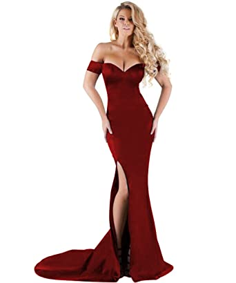 Bodycon Slit Burgundy Long V-Neck Mermaid Prom Dress For Women at ...