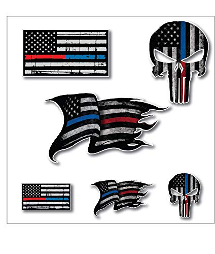 Pack of 6 THIN BLUE AND RED LINE to show support for Police and Firemen Decal Sticker Firefighter American Flag Vinyl Punisher Skull Tattered Distressed Fallen Officer Thin Blue Line Car Truck Graphic ()