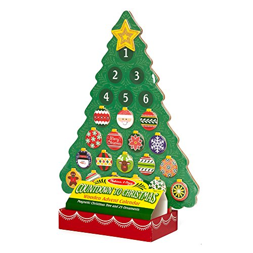 Holiday Advent Calendar - Melissa & Doug Countdown to Christmas Wooden Advent Calendar - Magnetic Tree, 25 Magnets