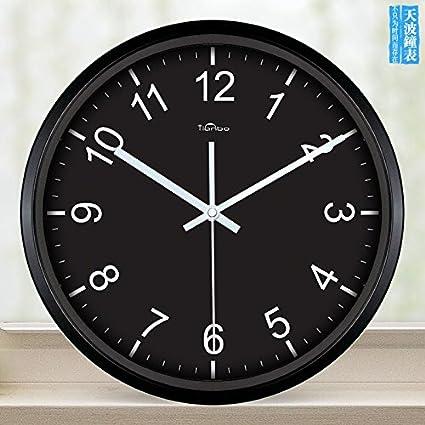 zhENfu relojes de cuarzo negro minimalista moderno clásico salón Digital creative reloj de pared reloj elegante