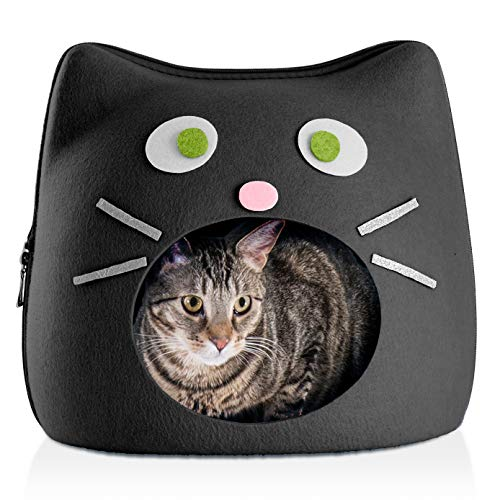 Furhaven Pet Cat Bed Furniture | Cat Shape Cutout w/ Face Decor Felt Pet House Private Den Hideout Pet Bed for Cats & Small Dogs, Dark Gray, One Size