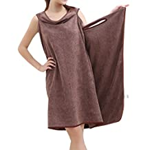NONMON Women Super Soft Wearable Water Absorbent Microfiber Sauna Spa Beach Swim Bath Towel Bathrobe Wrap - Brown