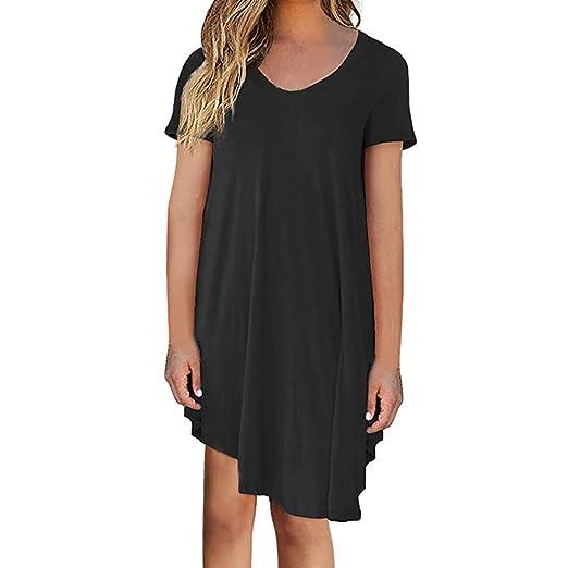6ff33f1bb09 Alangbudu Women s Summer Casual T Shirt Dresses Short Sleeve Swing Dress  Left Right Asymmetrical Formal Gown