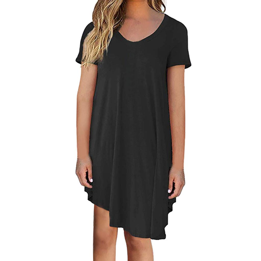 Bohelly New Double Layered Front V Neck Short Sleeve Maxi Dress with Solid Rayon Spandex Black
