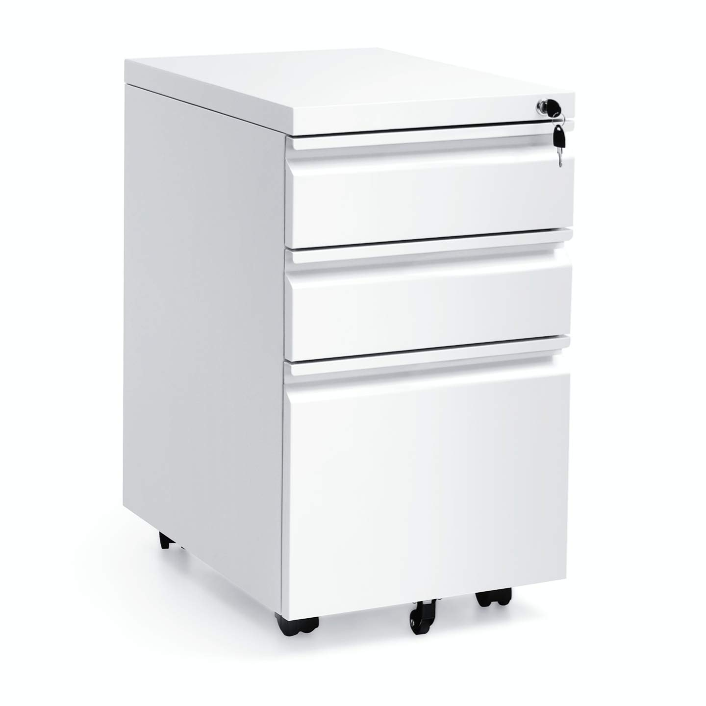 White Mobile 3 Drawer Filing Cabinet 26 Inch Locking Rolling File Cabinet with 5 Wheels Pedestal Filing Cabinet for Office Home Metal White A by INTERGREAT