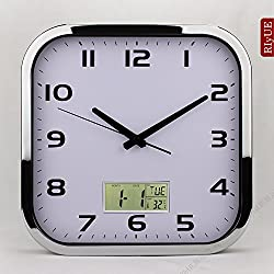 Y-Hui A Square Wall Clock Table Silent Living Room Wall Table Quartz Clock Electronic Clock Metal Craft Room Wall Clock, 12-Inch (30.5 Cm Diameter), Chrome Plated