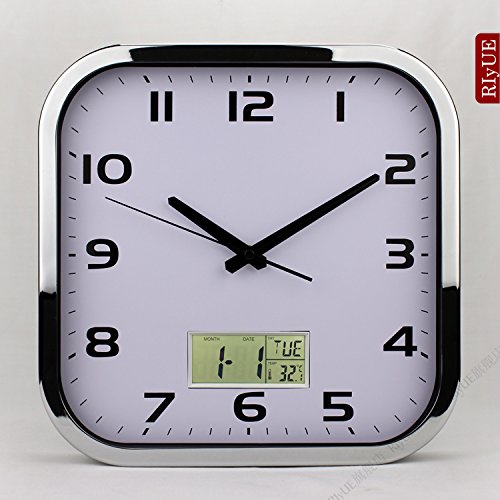 - Y-Hui A Square Wall Clock Table Silent Living Room Wall Table Quartz Clock Electronic Clock Metal Craft Room Wall Clock, 12-Inch (30.5 Cm Diameter), Chrome Plated