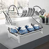 ": 2-Tier Dish Rack and DrainBoard, 20.2"" x15"" x10"" Kitchen Chrome Cup Dish Drying Rack Tray Cultery Dish Drainer"