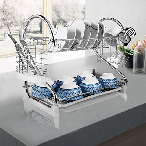 "2-Tier Dish Rack and DrainBoard, 20.2"" x15"" x10"" Kitchen Chr"