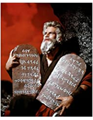 Charlton Heston 8 inch by 10 inch PHOTOGRAPH Planet of the Apes The Ten Commandments Ben-Hur from Knees Up Holding 2 Stone Tablets kn