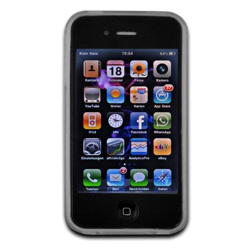 deinPhone - iPhone 4 4S Case Schutzhülle Schutz Handy Hülle Bumper Tasche Etui Wavemuster in Schwarz Transparent