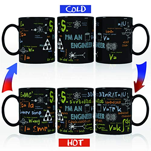 Kware - Best Engineer/Math Mug - Heat Sensitive Color Changing Coffee Mug Tea Cup,12 oz, Ceramic Unique Birthday, Graduation Gift Idea- Comes in A Fun Gift Box