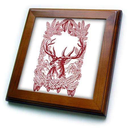 (3dRose Cassie Peters Vintage - Vintage Deer - 8x8 Framed Tile (ft_302187_1))