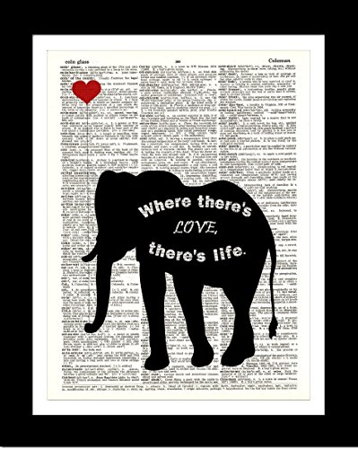 Art Com Victorian Print - Black Elephant With Heart DICTIONARY ART PRINT Inspirational Quote - Home Wall Decor - Upcycled Dictionary Page Book Art Print