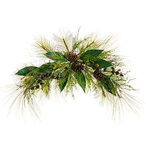 36'' Wide Artificial Pine, Pinecone, Cedar, Berry & Leaf Swag -Green/Brown (pack of 2) by SilksAreForever (Image #1)