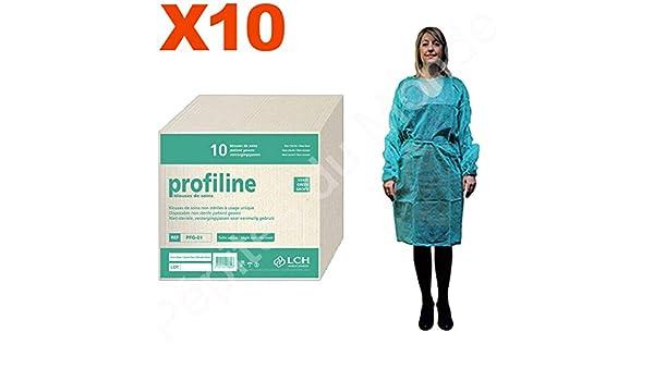 Bata protección verde desechable talla única fijación cordón Set 10 bolsas 10 Blouses desechables pdm-pfg01 - 10 by Pépites mundo: Amazon.es: Salud y ...
