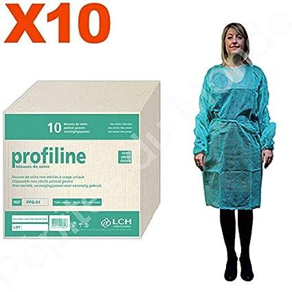 Bata protección verde desechable talla única fijación cordón Set 10 bolsas 10 Blouses desechables pdm-