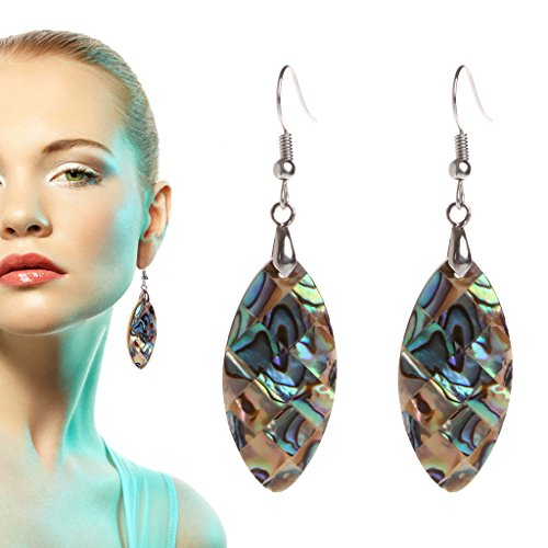 NNDA CO 1 Pair Exotic Retro Vintage Drop Shape Earrings Oval Mother-of-Pearl 34x18mm