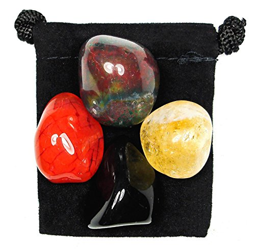 WISE DECISIONS Tumbled Crystal Healing Set with Pouch & Description Card - Black Onyx, Bloodstone, Carnelian, and Citrine (Carnelian Onyx)