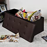 SONGMICS Folding Storage Ottoman Bench, Faux Leather, Brown ULSF703