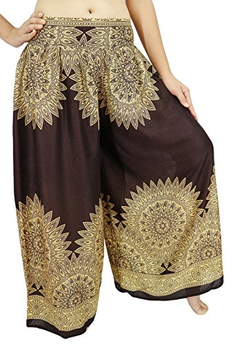 Lek Boutique Womens Harem Trousers Smocked Waist 21-38 Inchs 100% Rayon US Size 0-12 (AF Brown1)
