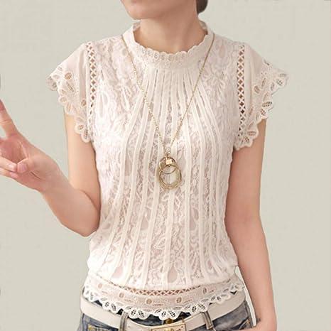 DJSHXC Blusa de Encaje Blanco para Mujer Cuello Alto de Manga Corta Mujer Tops Patchwork Crochet Camisa de Mujer: Amazon.es: Deportes y aire libre