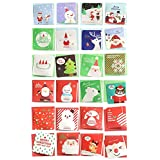 24 Pack Small Merry Christmas Greeting Cards, ALXCD Festival Color Cute Mini Size 7.5cm x 7.5cm Xmas Greeting Cards Set with Envelop, Pack of 24, C1