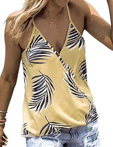 CILKOO Womens Summer Ladies Casual Spaghetti Straps V Neck Loose Camisole Palm Tree Leaf Print Tanks Tops Vest Blouse T Shirts Yellow US12-14 Large