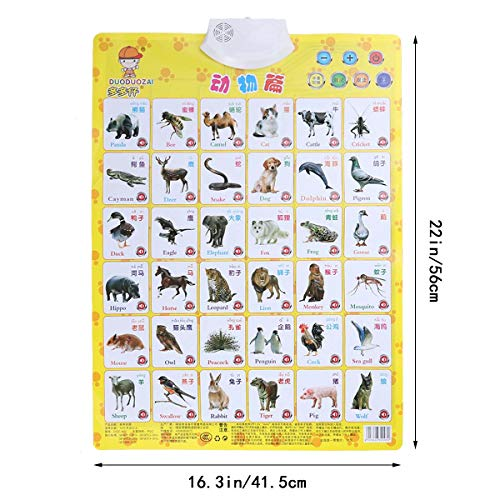 1PC Sound Wall Chart Animal Learning Chart Audio Digital Learning Chart Electronic Voice Chart Multifunction Educational…