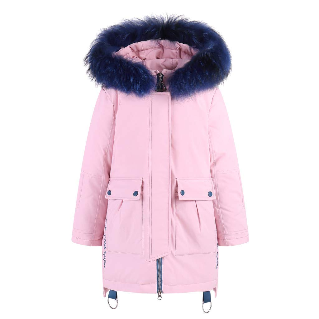 Holata Girl Winter Jacket Kids Winter Faux Hooded Down Coat Jacket Padded Overcoat Solid Color Warm Cotton Clothing Pink by Holata-coat