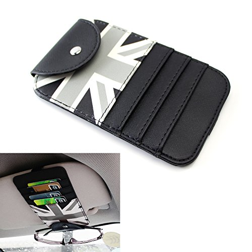 iJDMTOY (1) Black/Grey Union Jack UK Flag Style Sun Visor Organizer Holder For Sunglasses, Credit Cards, FasTrak Transponder, Reader, Garage Remote, - Rlx Uk