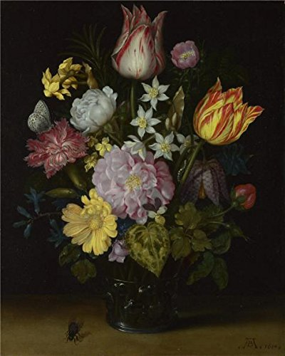 The Perfect Effect Canvas Of Oil Painting 'Ambrosius Bosschaert The Elder - Flowers In A Glass Vase,1614' ,size: 18x23 Inch / 46x57 Cm ,this Beautiful Art Decorative Canvas Prints Is - Leg Emulsion
