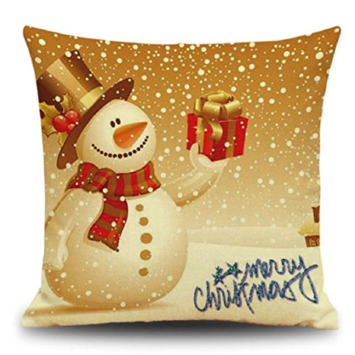 Ikevan Christmas Pillowcase Cotton Linen Square Cushion Cover Throw Waist Pillow Case Sofa Bed Party Home Decoration (16)