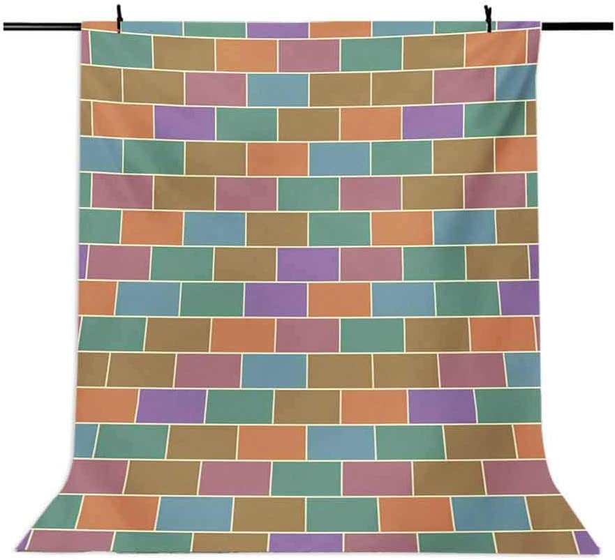 Colorful 6.5x10 FT Backdrop Photographers,Vintage Brick Wall Motif Geometric Rectangles Pattern Retro Design Inspirations Background for Baby Shower Bridal Wedding Studio Photography Pictures
