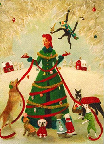 Green Coat and Dogs Christmas Cards Box of 8 and Envelopes