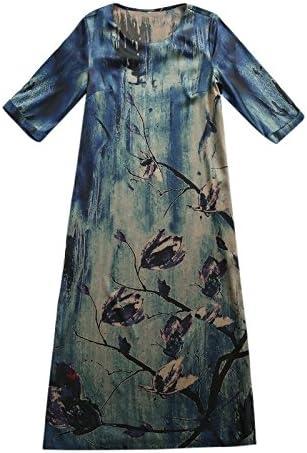 XIU*RONG Una Falda Larga En Un Vestido De Seda Seda Azul 3XL ...