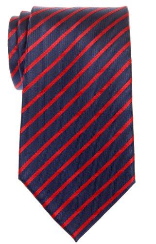 (Retreez Thin Regimental Striped Woven Microfiber Men's Tie - Navy Blue with Red)