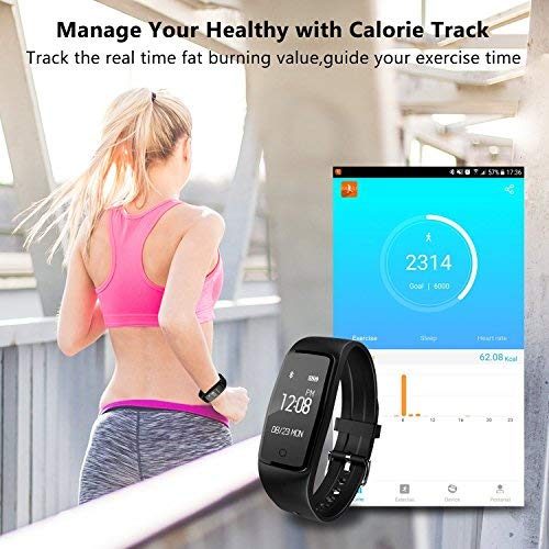 Fitness Tracker, GULAKI Heart Rate Bluetooth 4.0 Smart Watch Activity Tracker with Multiple Sports Modes, IP67 Waterproof Touch Screen Smart Pedometer for Android and IOS Smart Phones