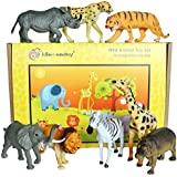 Lello & Monkey Safari wild animal toy plastic figures - large set of 8 boxed
