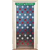 "Amscan Holiday Cheers Christmas Party Stars and Snowflakes Doorway Decoration (1 Piece), Multicolor, 48"" x 34"""