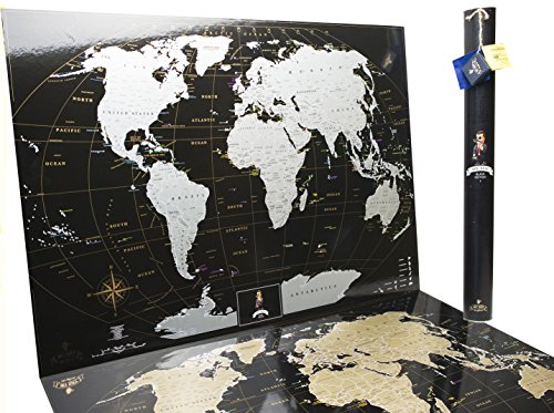 Full Color Deluxe Silver-Black World Scratch Off Map | 35'' x 25'' Push Pin Travel Tracker Map Poster Detailed with Gift Tube Eco-Friendly & Premium Materials by Mymap