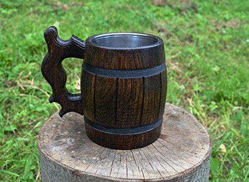 Handmade Beer Mug Made of Wood Tankard Wooden Stein Beer Tankard Stein Crafted Beer Mug Cup Capacity: 20.28oz (600ml) by Etno Motif (Image #4)